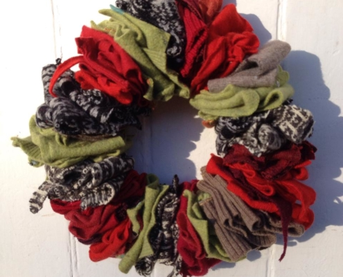 Upcycled Christmas Wreath by The Woolly Pedlar