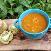 Tomato, Wild Garlic and Nettle Soup with Blue Cheese, Wild Garlic and Nettle Scones